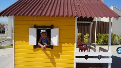 White Window Yellow House Little Child Brown Roof